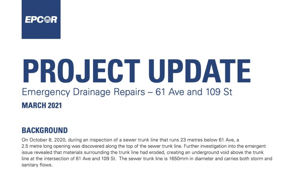 Drainage Repair and Traffic Issues – 61 Ave and 109 St
